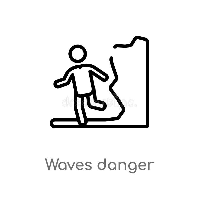 icono del vector del peligro de las ondas del esquema línea simple negra aislada ejemplo del elemento del concepto de la gente Mo ilustración del vector