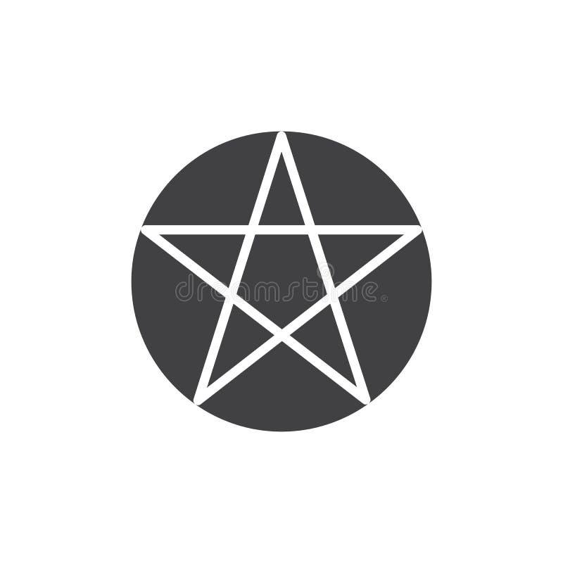 Icono del vector del Pentagram o del pentalpha stock de ilustración