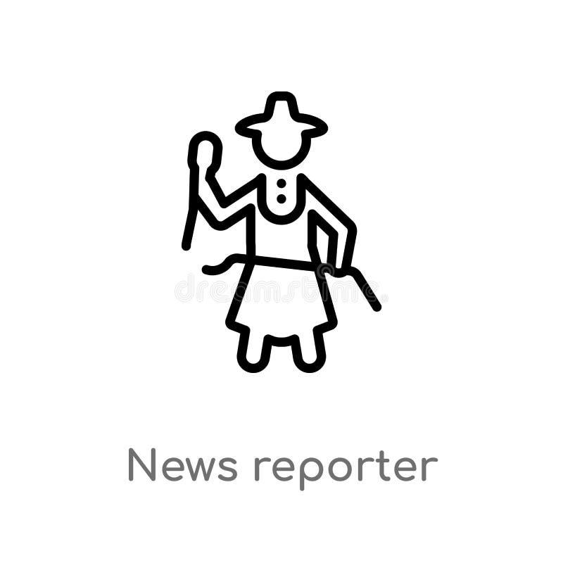 icono del vector del periodista del esquema línea simple negra aislada ejemplo del elemento del concepto de la comunicación Vecto libre illustration