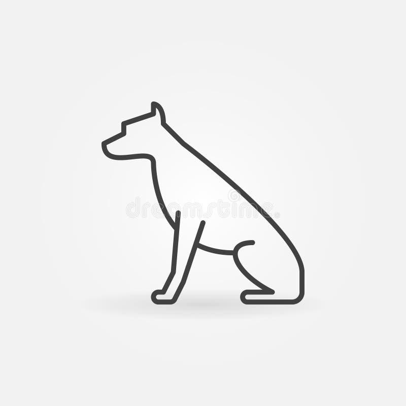 Icono del vector del perro que se sienta stock de ilustración