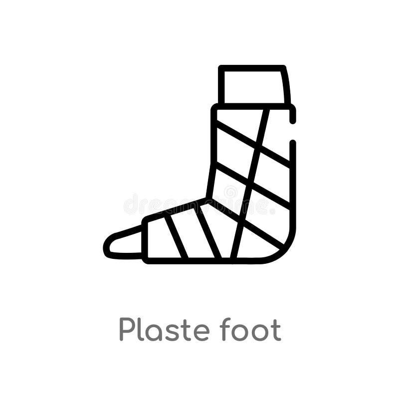 icono del vector del pie del plaste del esquema línea simple negra aislada ejemplo del elemento del concepto médico Movimiento Ed stock de ilustración