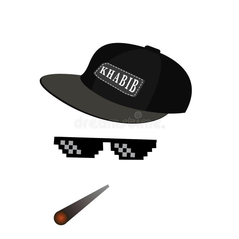 Icono del vector del pixel de los vidrios Pixel Art Glasses de la vida Meme del gamberro y del humo con el casquillo Habib Nurmag ilustración del vector