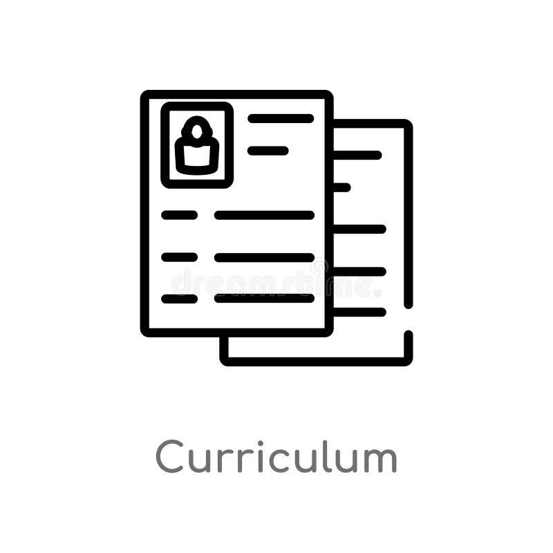 icono del vector del plan de estudios del esquema línea simple negra aislada ejemplo del elemento del concepto de los recursos hu ilustración del vector