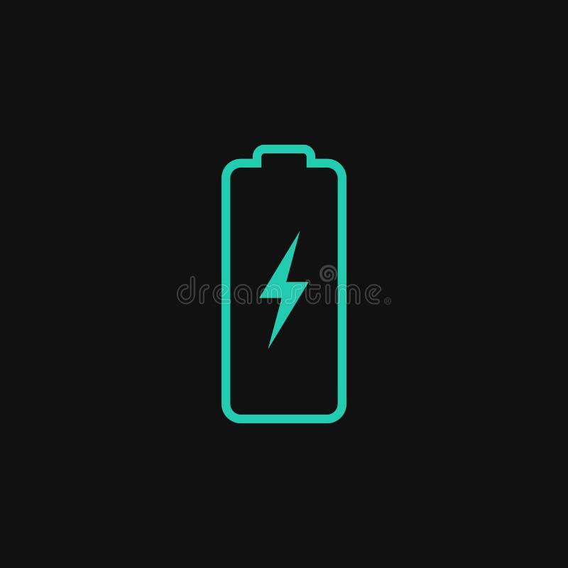 Icono del vector del poder de batería ilustración del vector