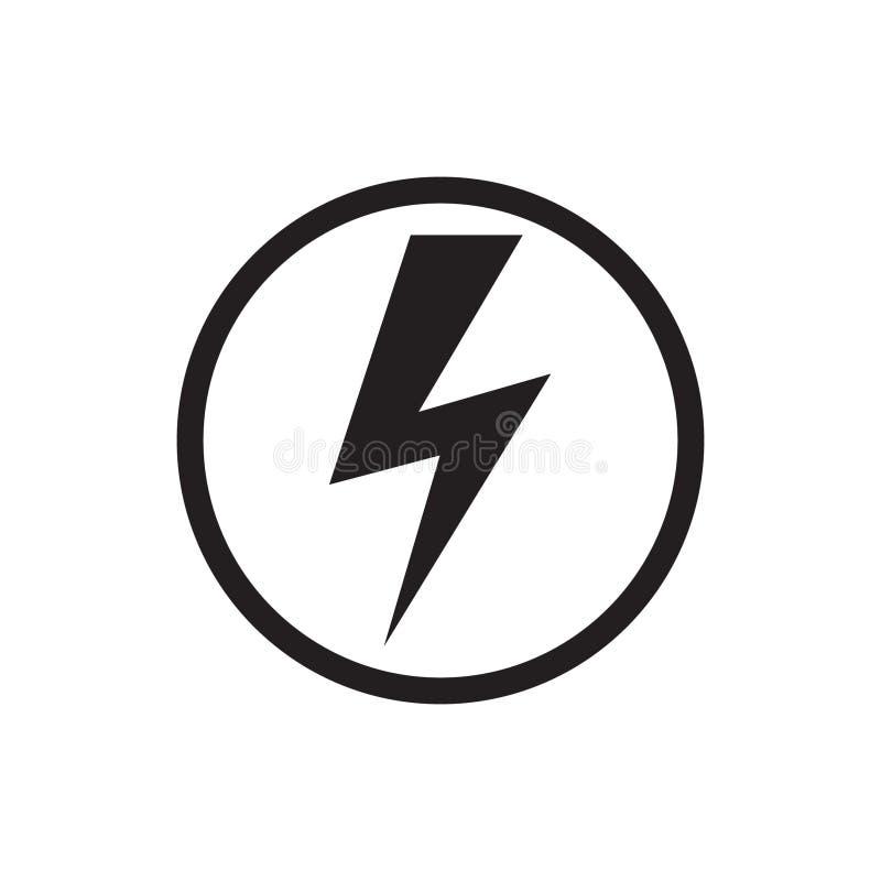 Icono del vector del poder de la energía en el fondo blanco Elementos de la electricidad ilustración del vector
