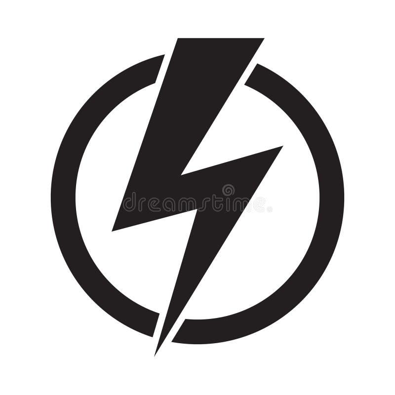 Icono del vector del poder de la energía en el fondo blanco Elementos de la electricidad libre illustration