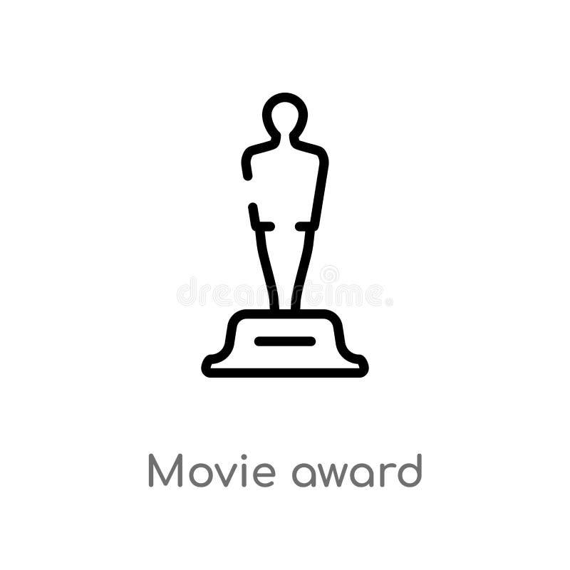 icono del vector del premio de la película del esquema línea simple negra aislada ejemplo del elemento del concepto del cine pelí ilustración del vector