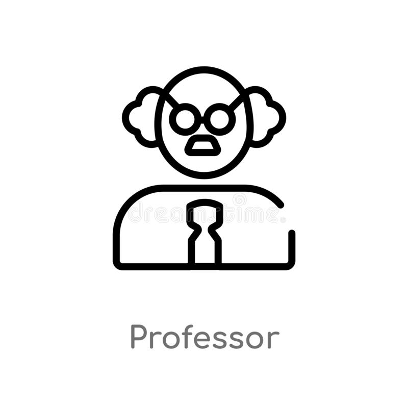 icono del vector del profesor del esquema línea simple negra aislada ejemplo del elemento del concepto de la ciencia Movimiento E stock de ilustración