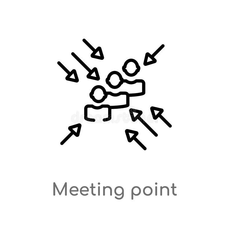 icono del vector del punto de reunión del esquema línea simple negra aislada ejemplo del elemento del concepto de los recursos hu ilustración del vector