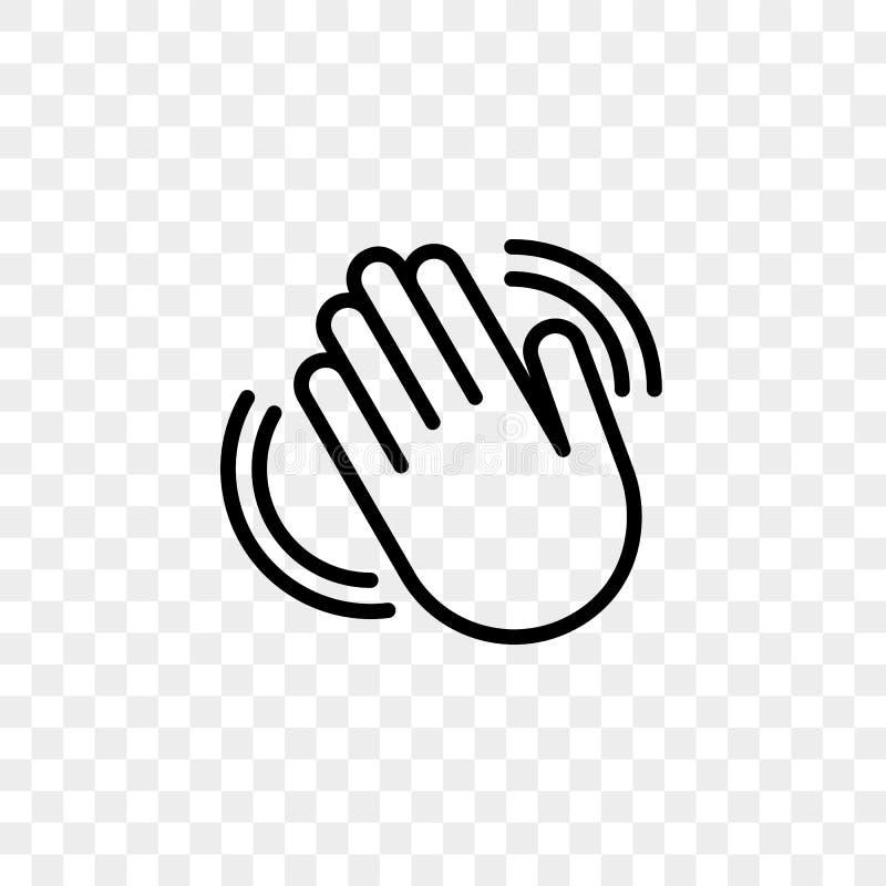 Icono del vector que agita de la mano hola de la línea del gesto de la recepción aislada en fondo transparente stock de ilustración