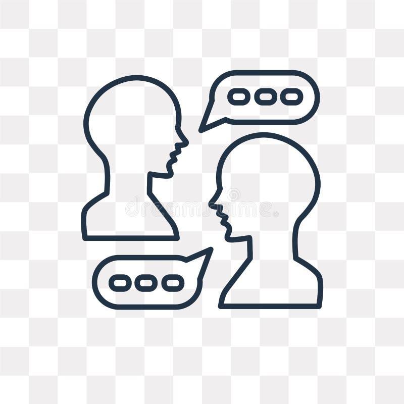 Icono del vector que habla aislado en el fondo transparente, T linear ilustración del vector