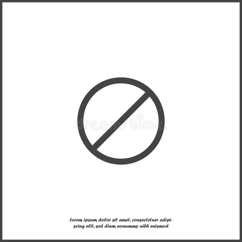 Icono del vector que prohíbe la muestra Imposible Icono de los sig de la parada y de la prohibición en el fondo aislado blanco Ca stock de ilustración