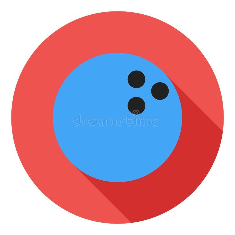 Icono del vector que rueda, icono de la bola de bolos, símbolo de la bola de los deportes Icono largo moderno, plano del vector d ilustración del vector
