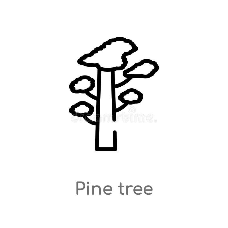 icono del vector del ?rbol de pino del esquema l?nea simple negra aislada ejemplo del elemento del concepto de la naturaleza pino libre illustration