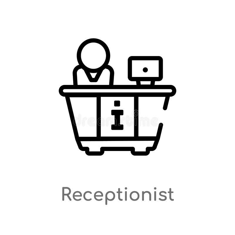 icono del vector del recepcionista del esquema l?nea simple negra aislada ejemplo del elemento del concepto del hotel y del resta stock de ilustración