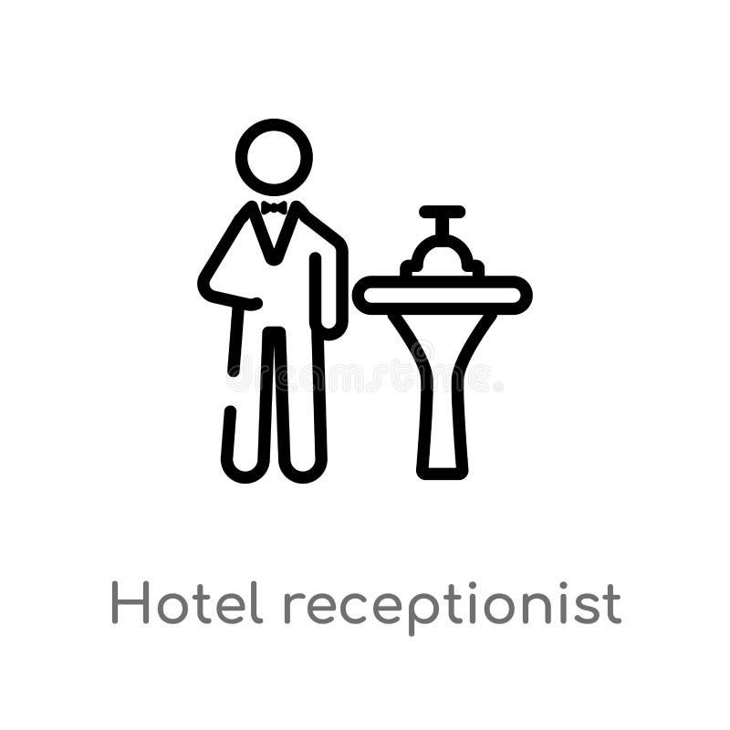 icono del vector del recepcionista del hotel del esquema l?nea simple negra aislada ejemplo del elemento del concepto de la m?sic libre illustration
