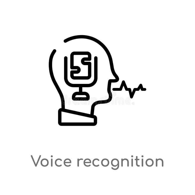 icono del vector del reconocimiento vocal del esquema l?nea simple negra aislada ejemplo del elemento del concepto artificial del ilustración del vector