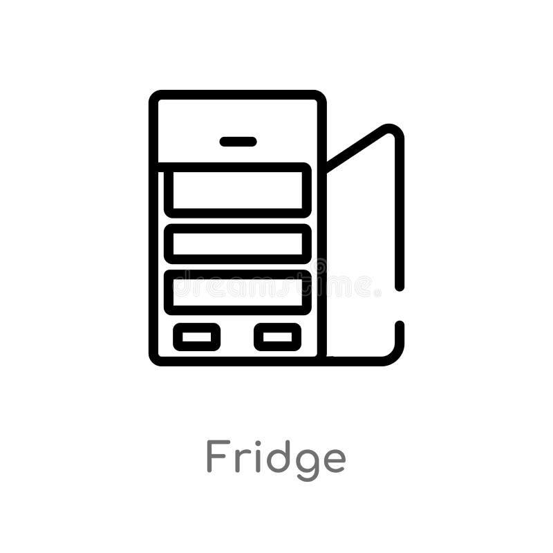 icono del vector del refrigerador del esquema l?nea simple negra aislada ejemplo del elemento del concepto de los muebles refrige ilustración del vector