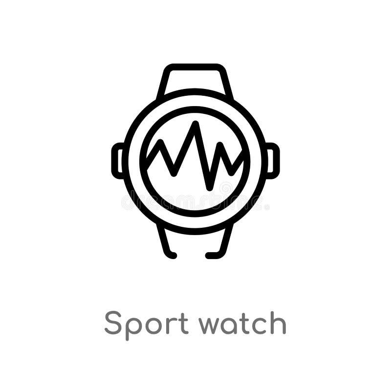 icono del vector del reloj del deporte del esquema l?nea simple negra aislada ejemplo del elemento del gimnasio y del concepto de ilustración del vector