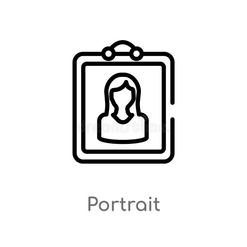 icono del vector del retrato del esquema línea simple negra aislada ejemplo del elemento del concepto electrónico del terraplén d stock de ilustración