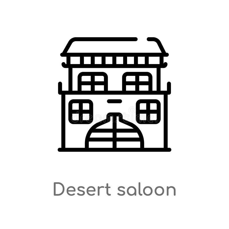 icono del vector del salón del desierto del esquema línea simple negra aislada ejemplo del elemento del concepto del desierto Mov libre illustration