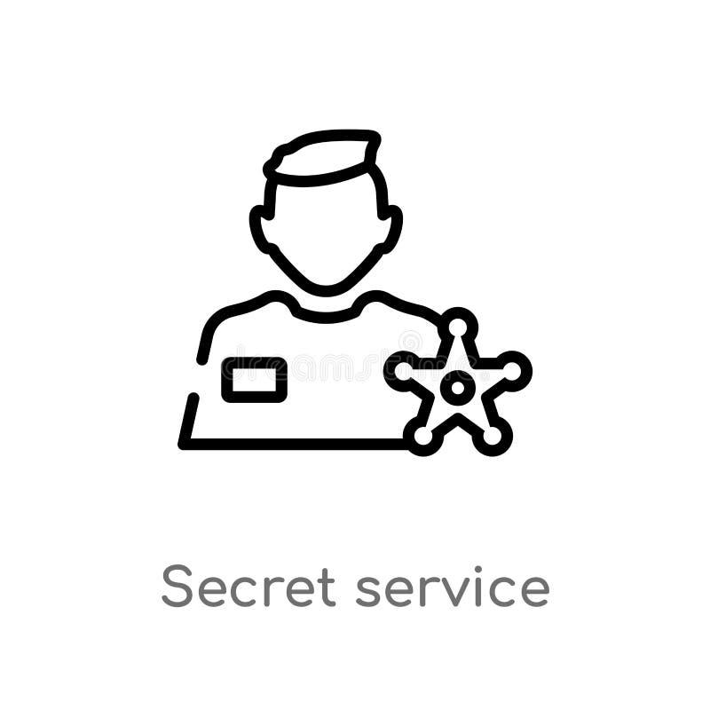 icono del vector del servicio secreto del esquema línea simple negra aislada ejemplo del elemento del concepto de los beneficios  libre illustration