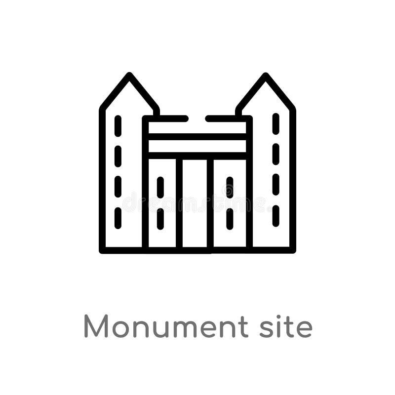 icono del vector del sitio del monumento del esquema l?nea simple negra aislada ejemplo del elemento del concepto de los monument stock de ilustración