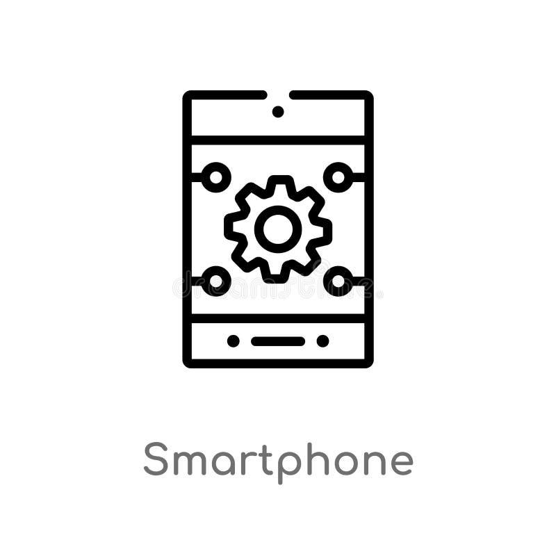 icono del vector del smartphone del esquema l?nea simple negra aislada ejemplo del elemento del concepto de la inteligencia artif ilustración del vector