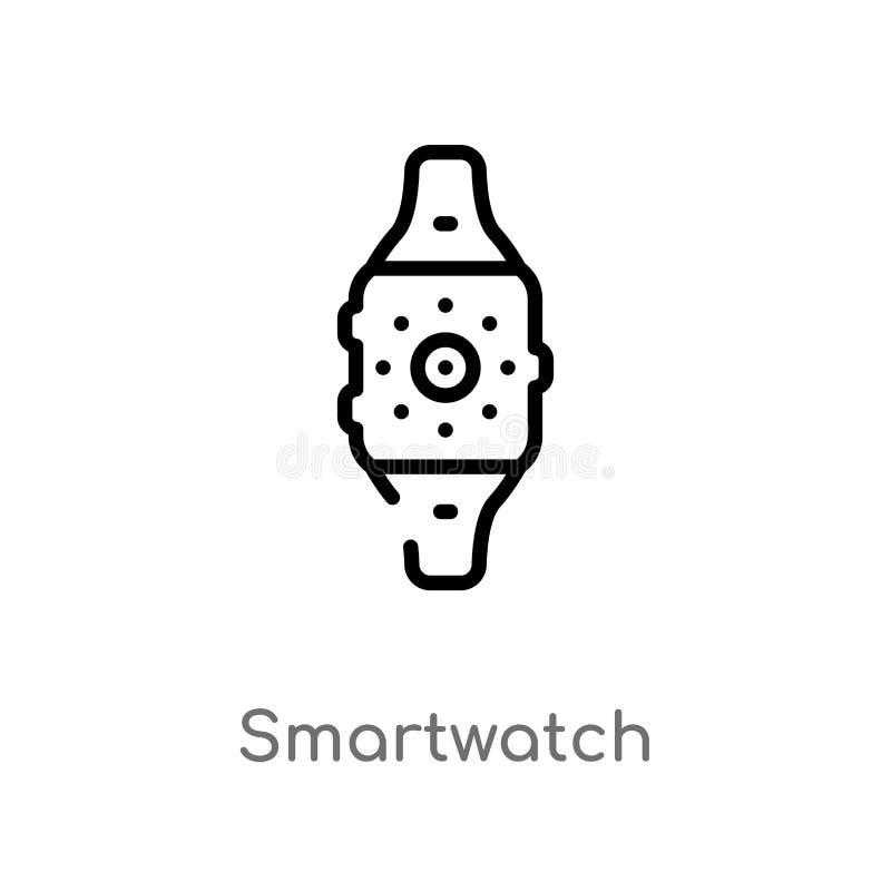 icono del vector del smartwatch del esquema l?nea simple negra aislada ejemplo del elemento del concepto de los dispositivos elec ilustración del vector