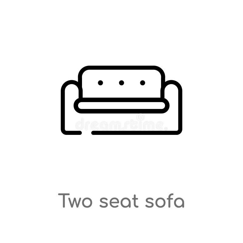 icono del vector del sofá del asiento del esquema dos línea simple negra aislada ejemplo del elemento del concepto de los edifici libre illustration