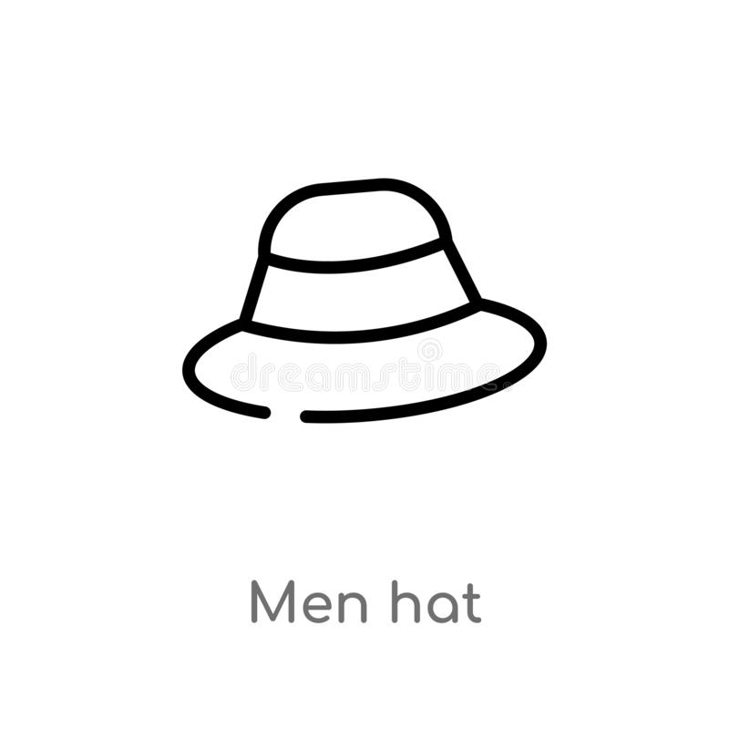 icono del vector del sombrero de los hombres del esquema l?nea simple negra aislada ejemplo del elemento del concepto de la ropa  stock de ilustración