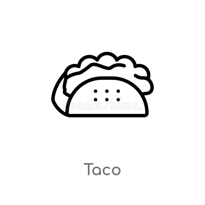 icono del vector del taco del esquema línea simple negra aislada ejemplo del elemento del concepto de los alimentos de preparació stock de ilustración