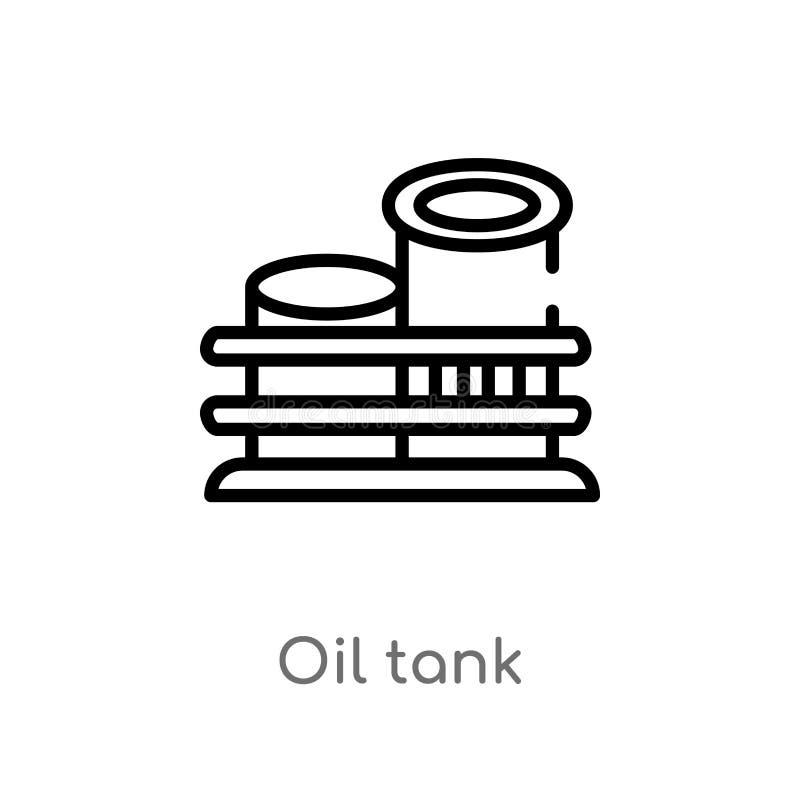 icono del vector del tanque de aceite del esquema l?nea simple negra aislada ejemplo del elemento del concepto de la industria ac ilustración del vector