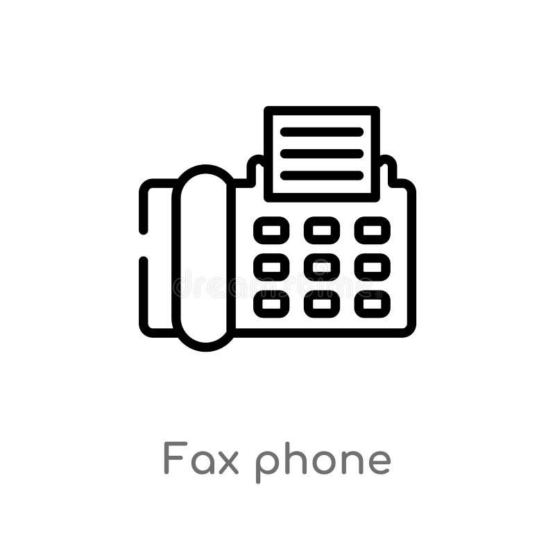 icono del vector del teléfono del fax del esquema l?nea simple negra aislada ejemplo del elemento del concepto de la tecnolog?a f stock de ilustración
