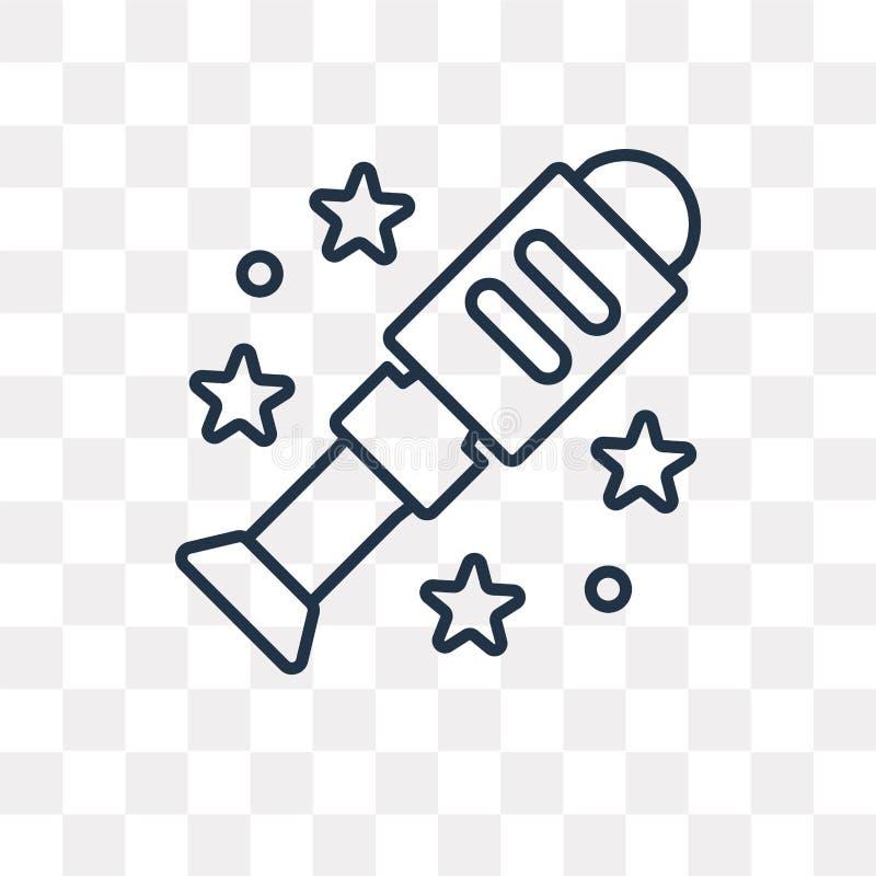 Icono del vector del telescopio aislado en el fondo transparente, linear libre illustration