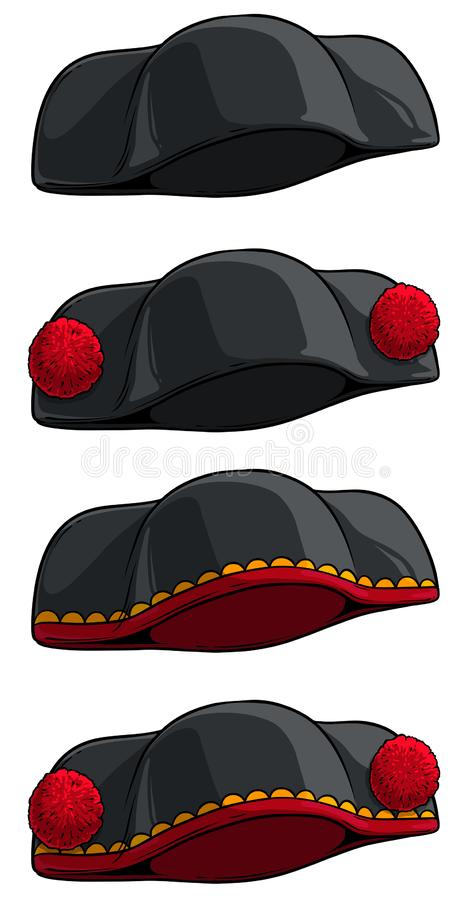 Icono del vector del torero del negro de la historieta o del sombrero de matador libre illustration