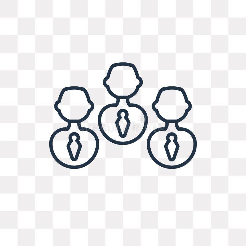 Icono del vector del trabajo en equipo aislado en el fondo transparente, linear libre illustration