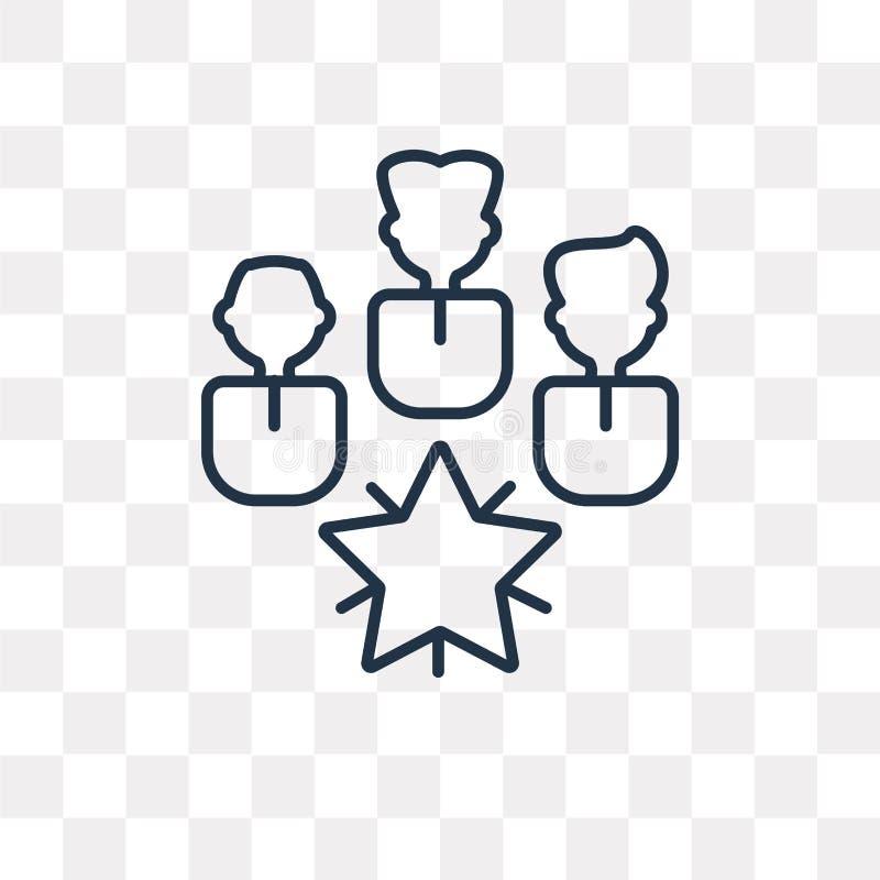 Icono del vector del trabajo en equipo aislado en el fondo transparente, linear stock de ilustración