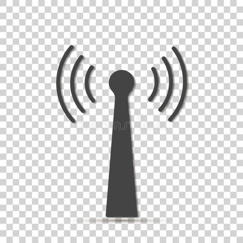 Icono del vector del transmisor de WiFi en fondo transparente Lo del Wi-Fi ilustración del vector