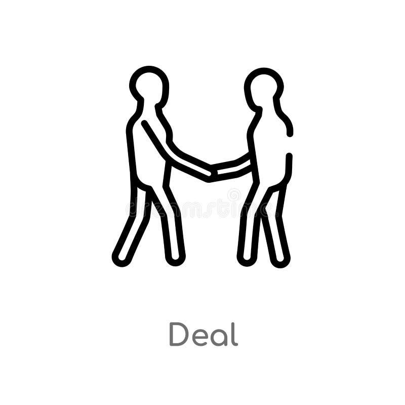 icono del vector del trato del esquema línea simple negra aislada ejemplo del elemento del concepto digital de la economía Movimi stock de ilustración