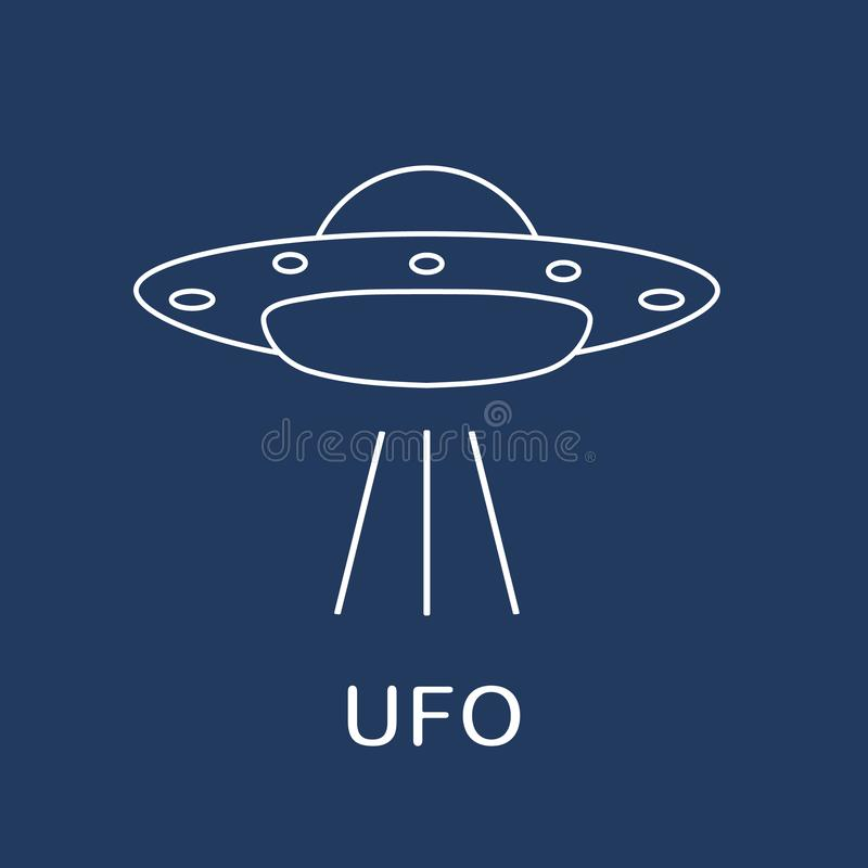 Icono del vector del UFO Vehículo espacial extranjero Día del UFO del mundo stock de ilustración