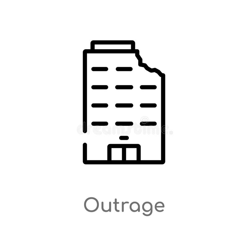 icono del vector del ultraje del esquema línea simple negra aislada ejemplo del elemento del concepto de los edificios Movimiento stock de ilustración