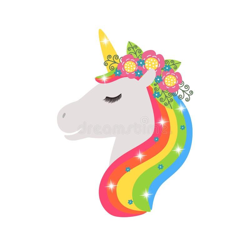 Icono del vector del unicornio aislado en blanco Etiqueta engomada principal del caballo del retrato, insignia del remiendo Anima ilustración del vector