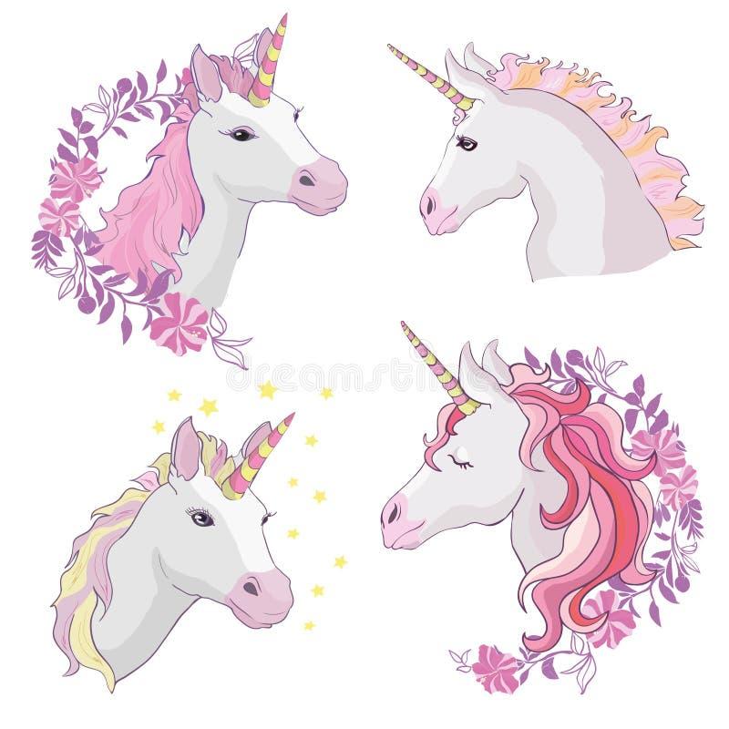 Icono del vector del unicornio aislado en blanco Etiqueta engomada principal del caballo del retrato, insignia del remiendo Anima stock de ilustración