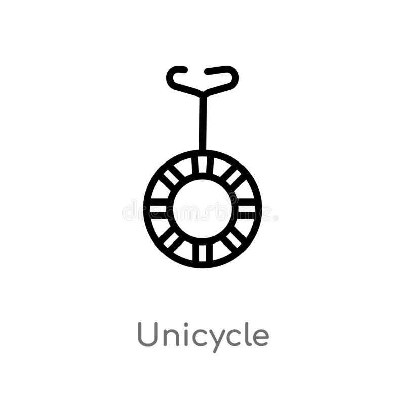 icono del vector del unicycle del esquema l?nea simple negra aislada ejemplo del elemento del concepto m?gico unicycle editable d ilustración del vector
