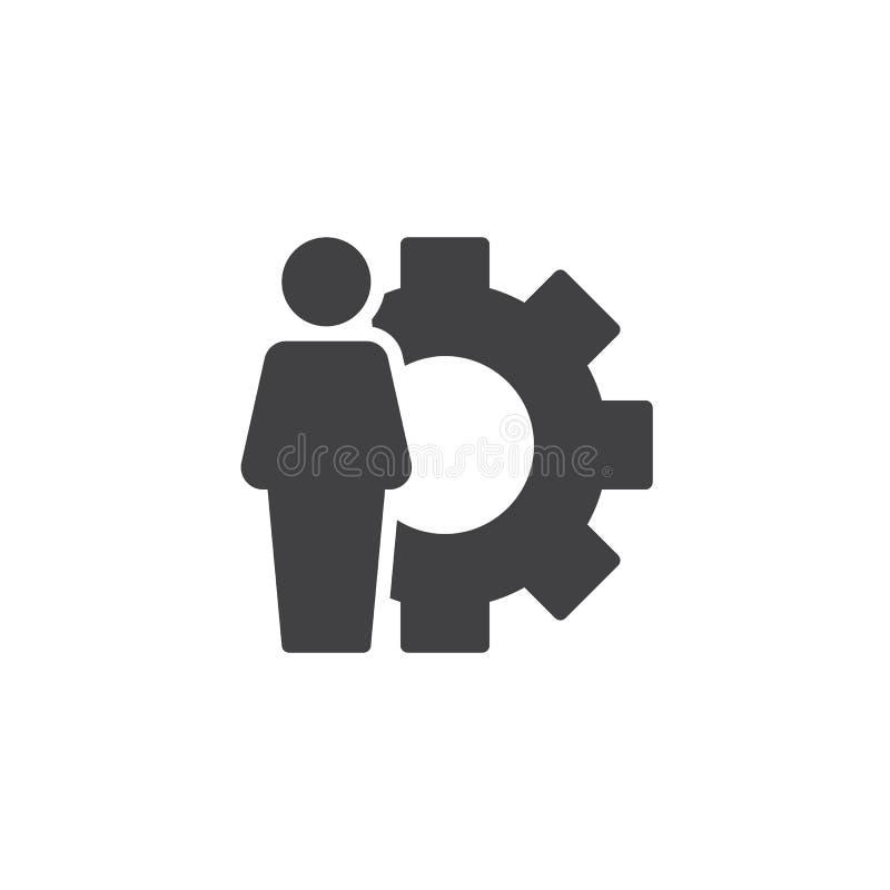 Icono del vector del usuario y del engranaje ilustración del vector