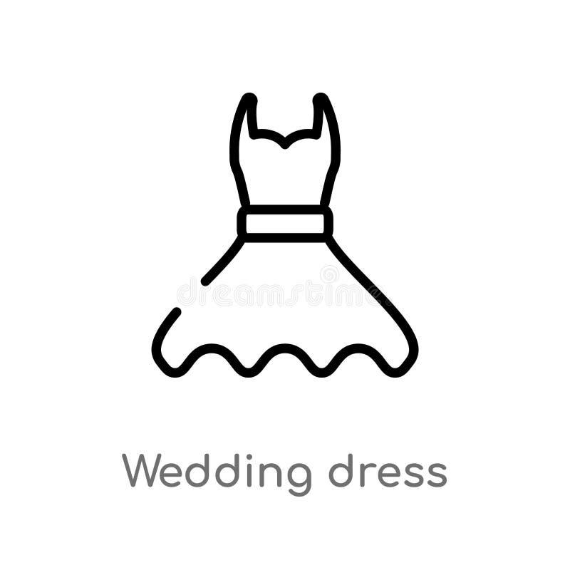 icono del vector del vestido de boda del esquema l?nea simple negra aislada ejemplo del elemento del concepto de la fiesta y de l stock de ilustración