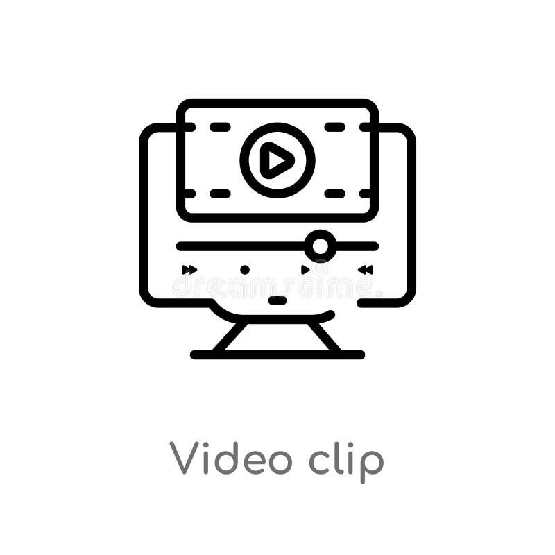 icono del vector del videoclip del esquema l?nea simple negra aislada ejemplo del elemento del concepto del cine v?deo editable d stock de ilustración