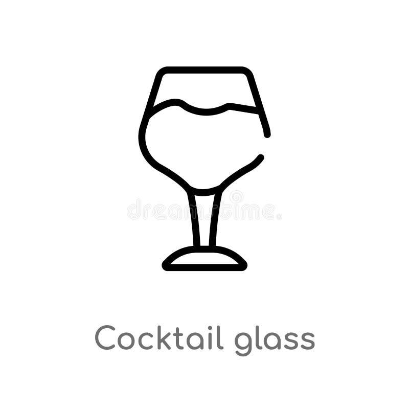 icono del vector del vidrio de cóctel del esquema línea simple negra aislada ejemplo del elemento del último concepto de los glyp stock de ilustración
