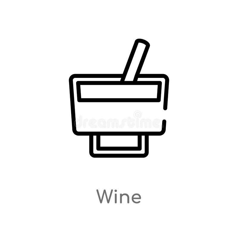 icono del vector del vino del esquema línea simple negra aislada ejemplo del elemento del concepto de las bebidas icono editable  libre illustration